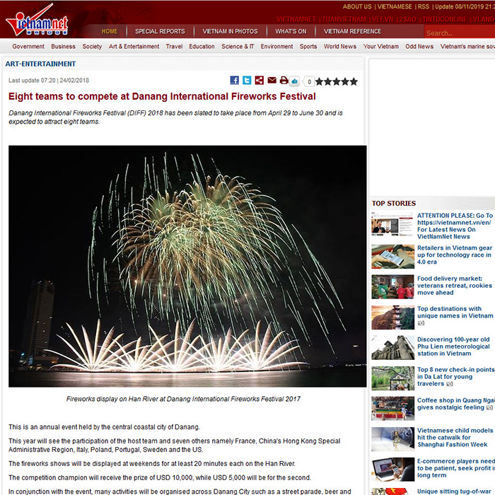 Eight teams to compete at Danang International Fireworks Festival